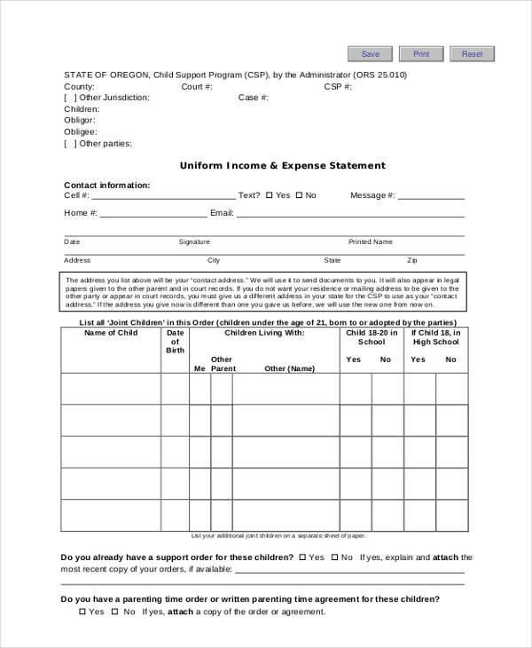 uniform income and expense form