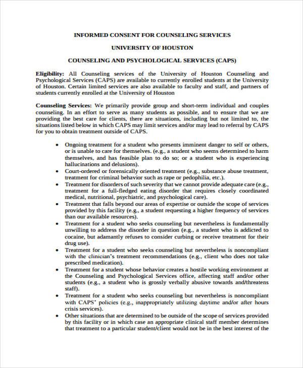 university counseling service form