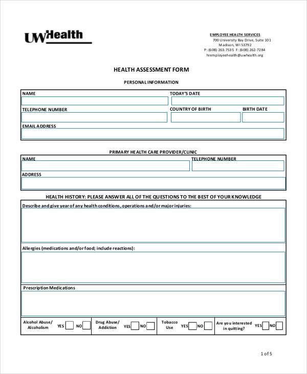 university employee health assessment form