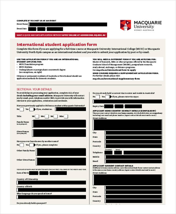 university student admission application form