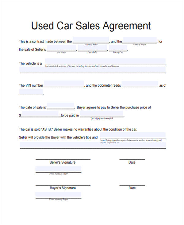 used car sales agreement form