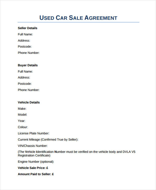 used car sales agreement form1