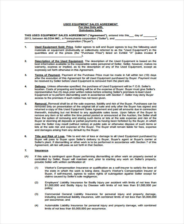 used equipment sales agreement form