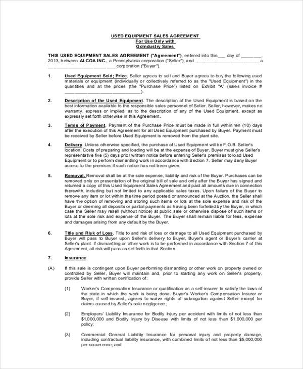 used equipment sales agreement form1
