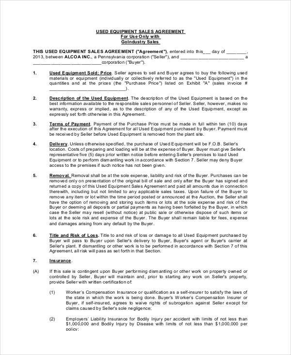 used equipment sales agreement form2
