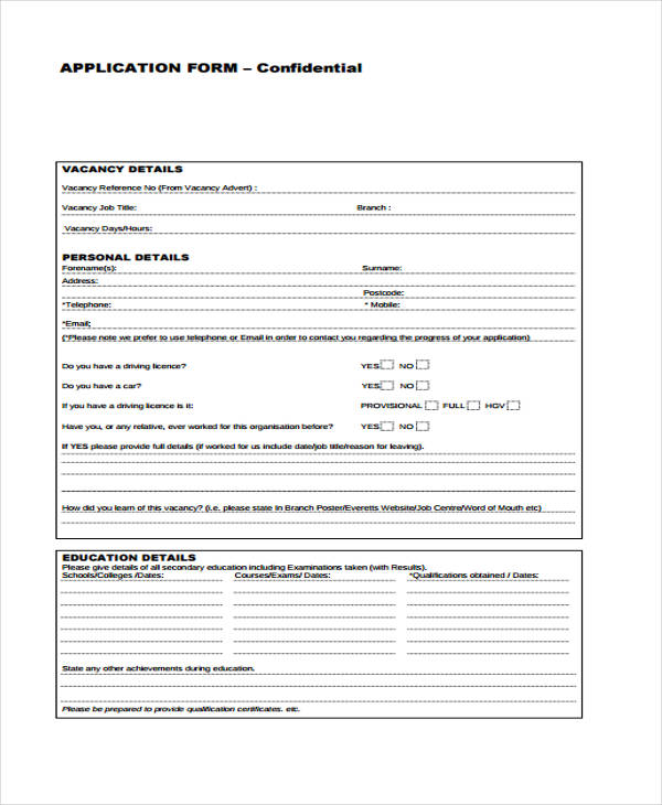 vacancy job application form1