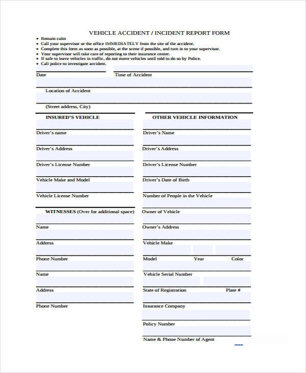 vehicle accident incident report form