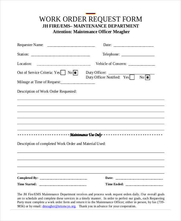 5 maintenance work order form free documents in word pdf for Internal work order template