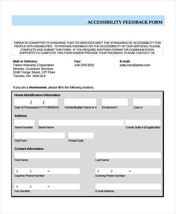 vendor accessibility feedback form