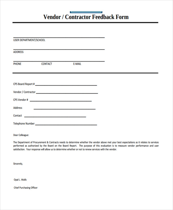 vendor contrctor feedback form