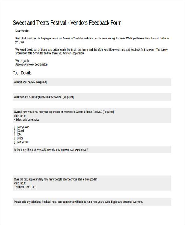 vendor feedback sample