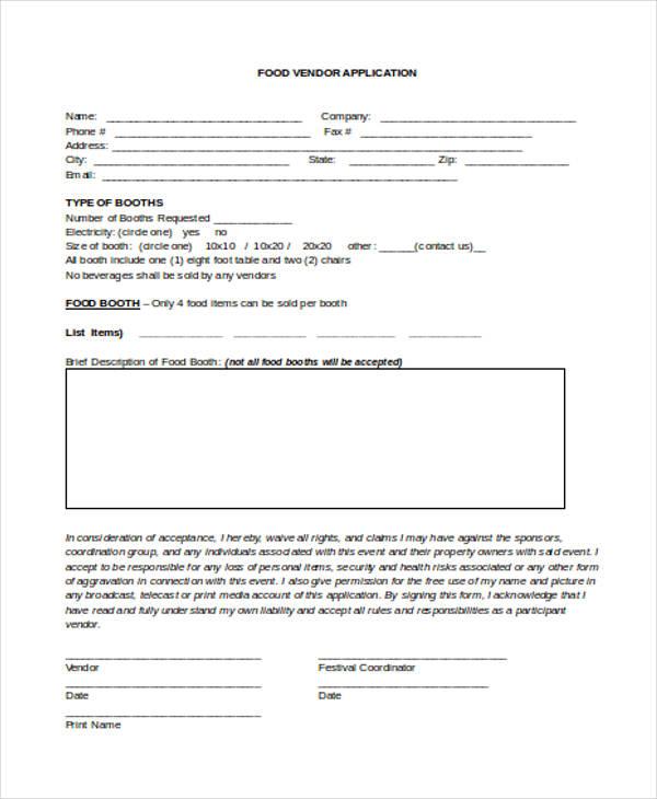 vendor space rental application agreement form