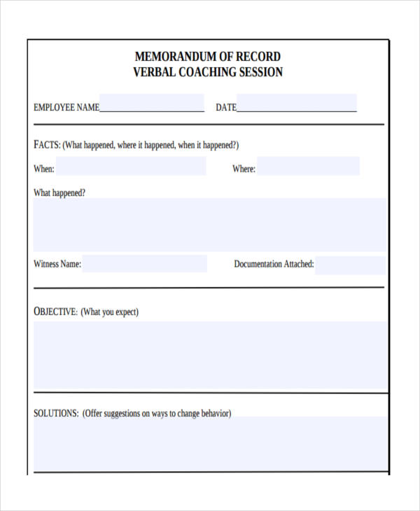verbal counseling record form