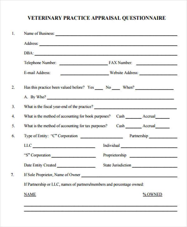 Veterinary-Appraisal-Form Sample Application Form For Nursing Job on