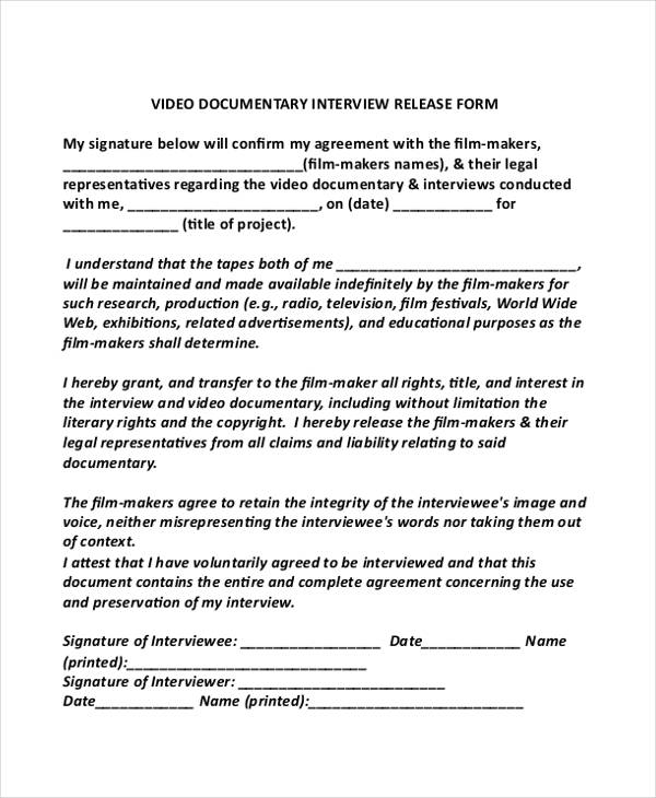 Interview Release Form Samples