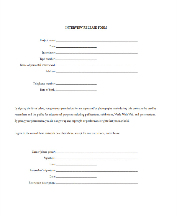 video interview release form