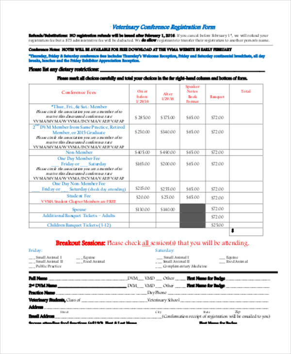 virginia veterinary conference registration form