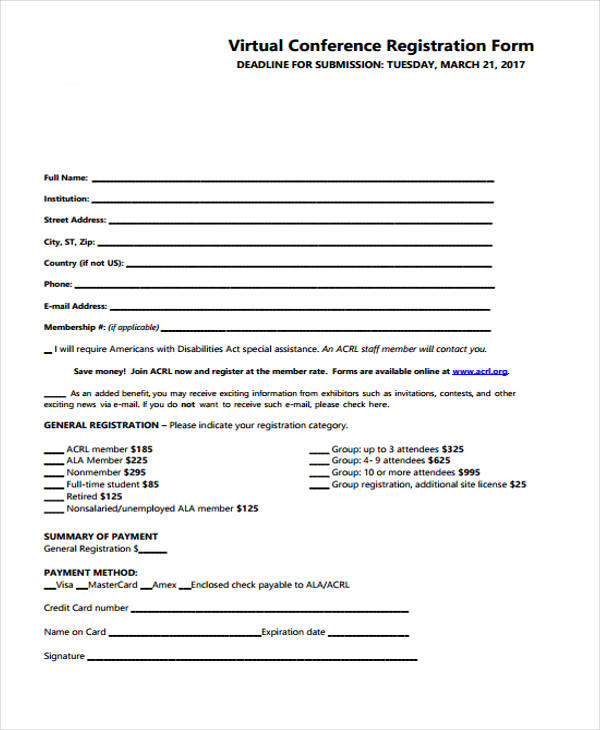 virtual conference registration form