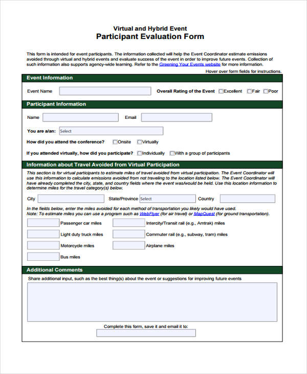 virtual hybrid event participation evaluation form