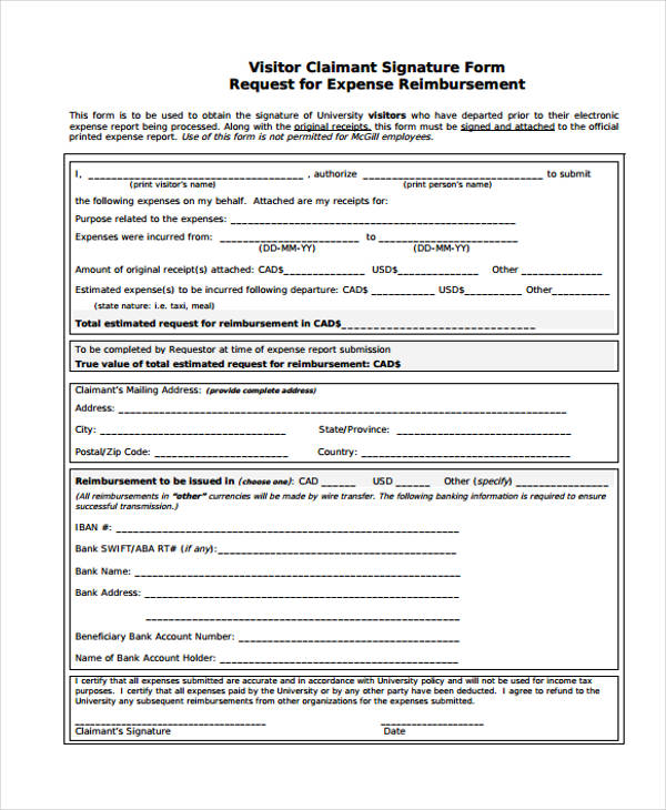 visitors reimbursement expense report form