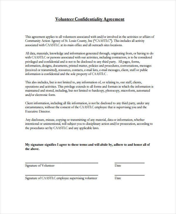 Free 21 Confidentiality Agreement Form Templates In Pdf Word