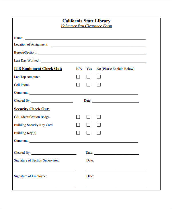 volunteer exit clearance form