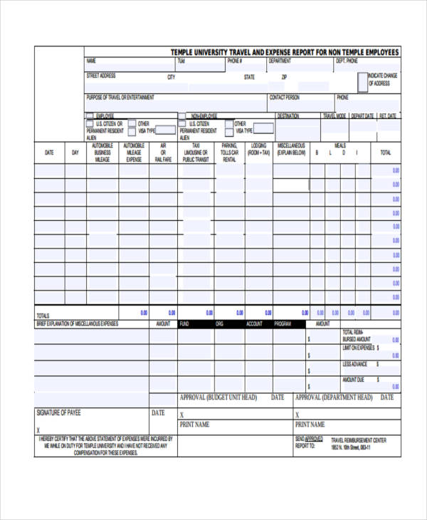 volunteer travel expense report form