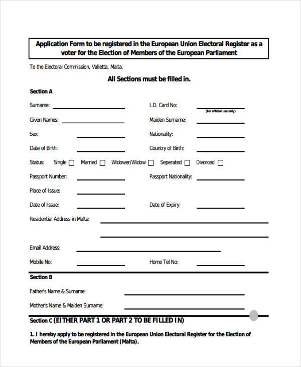 voter application