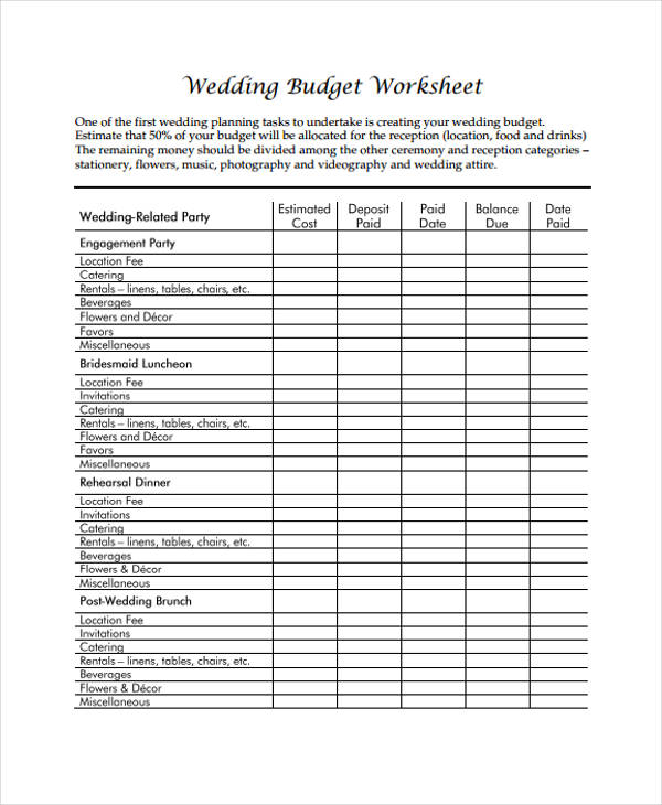 Wedding Budget Form Sample  Free Sample Example Format Download