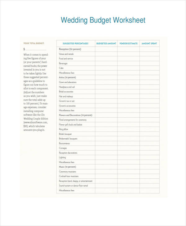 Wedding Budget Worksheet Form