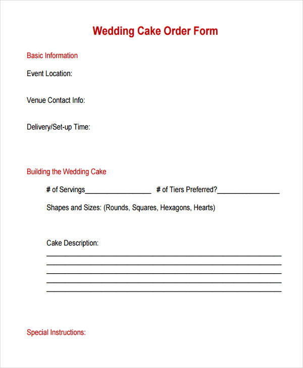12 Cake Order Form Sample Free Sample Example Format Download
