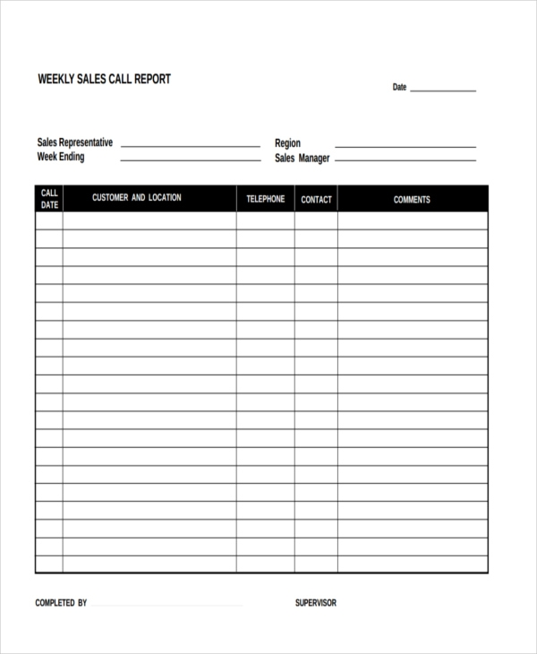 weekly sales call report form