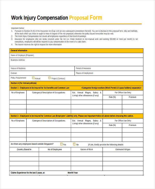 work injury compensation proposal form