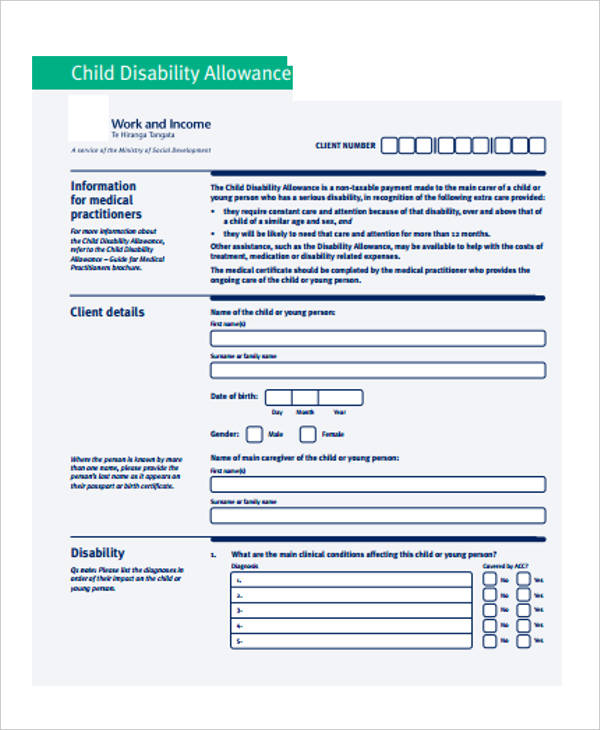 work and income disability allowance application form
