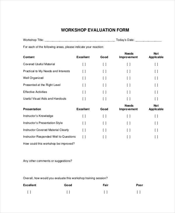 Workshop Evaluation Form Examples