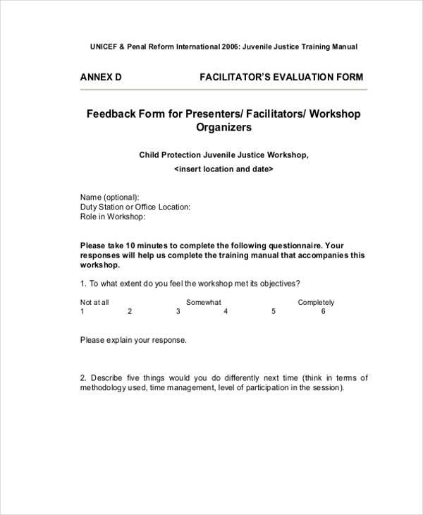 workshop facilitator evaluation feedback form