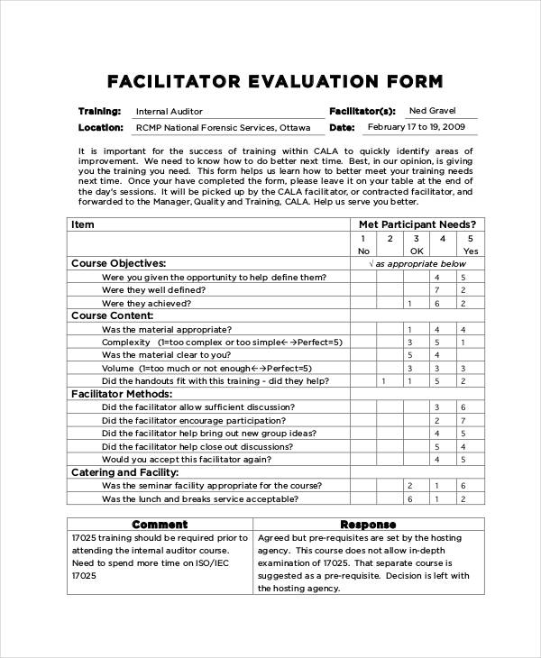 Workshop Facilitator Evaluation Form Sample