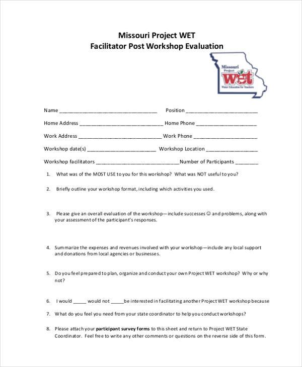 workshop facilitator post evaluation form