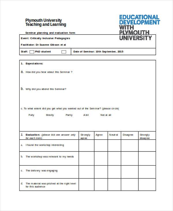 workshop planning event evaluation form