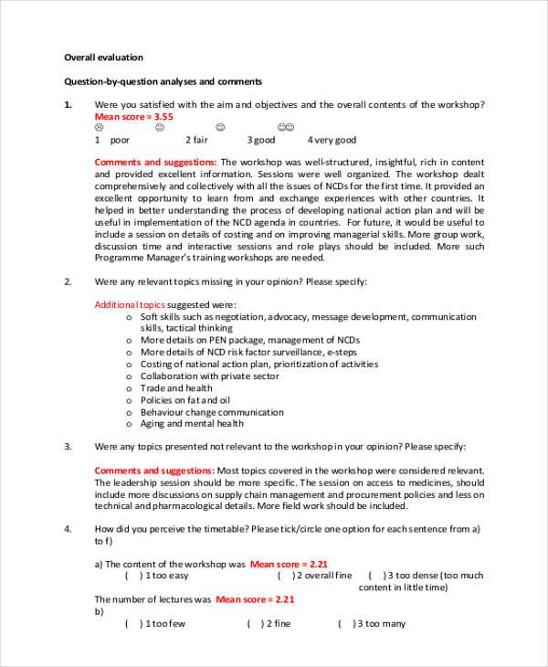 workshop session feedback evaluation form
