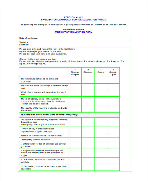 Sample Workshop Evaluation Forms