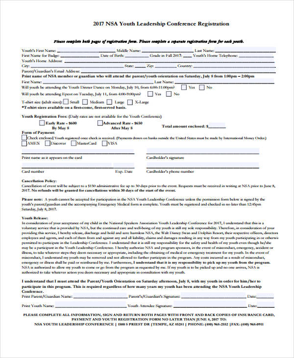 youth leadership conference registration form