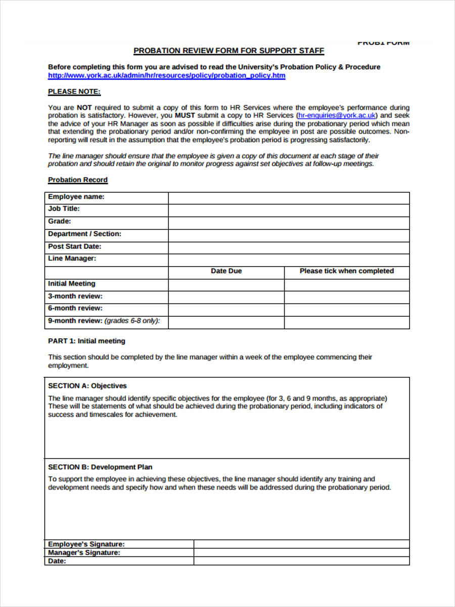 3 Month Probation Review  Employee Review Form Free Download