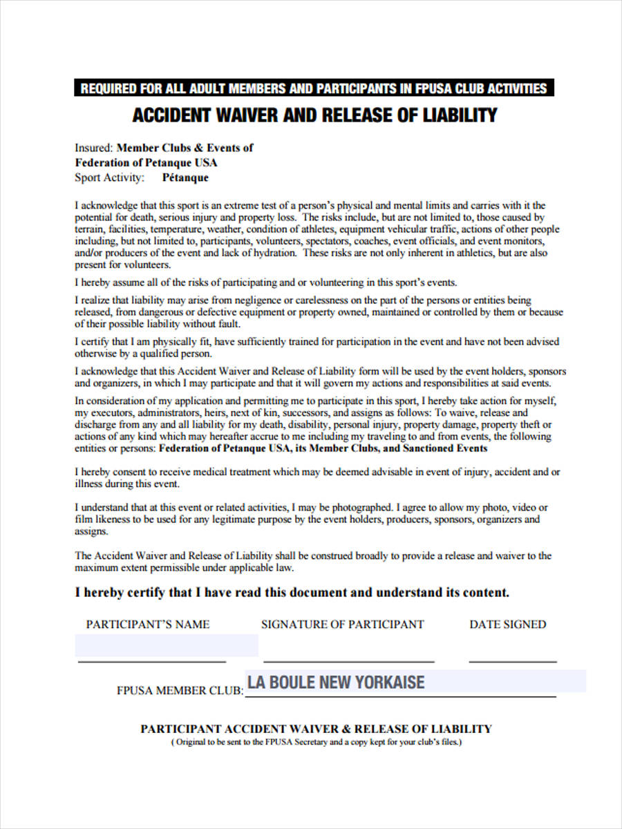 accident waiver adult
