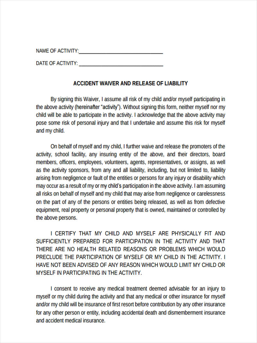 Accident Waiver Release  Free Waiver Of Liability Form Template