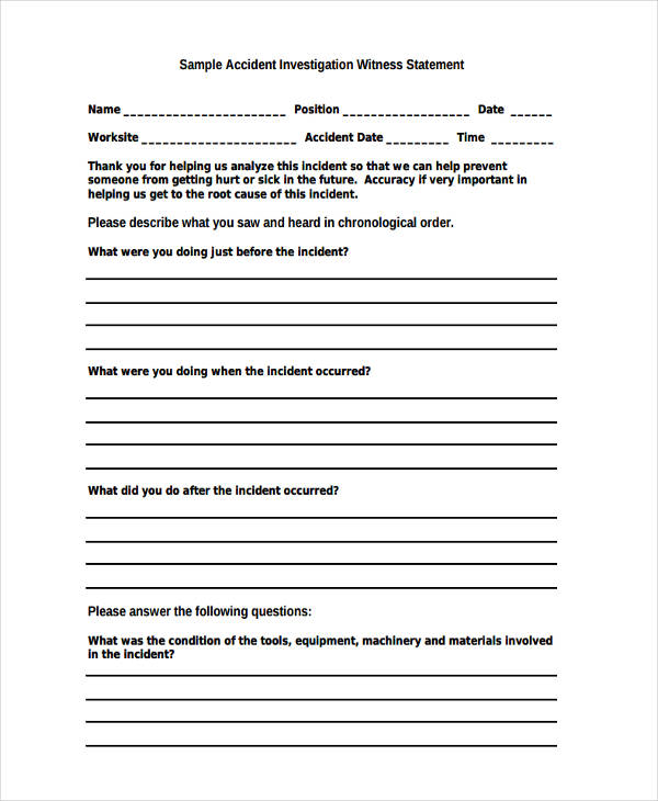 Witness Statement Form Samples  Free Sample Example Format