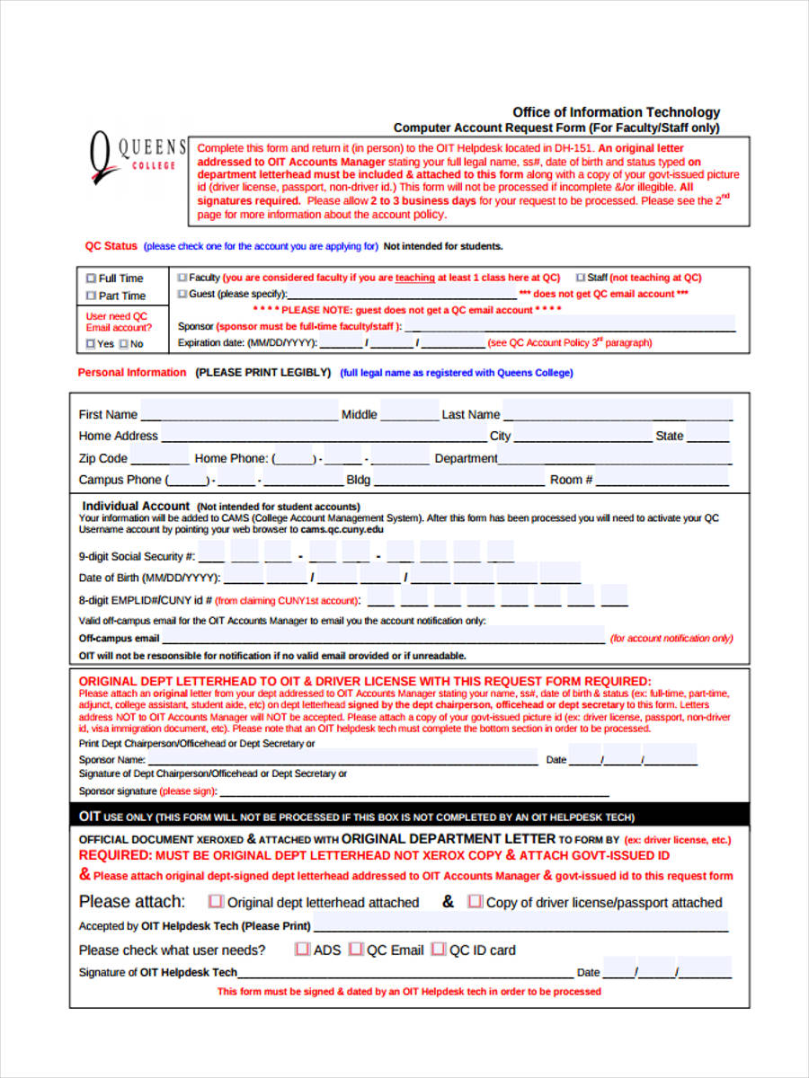 account request order form