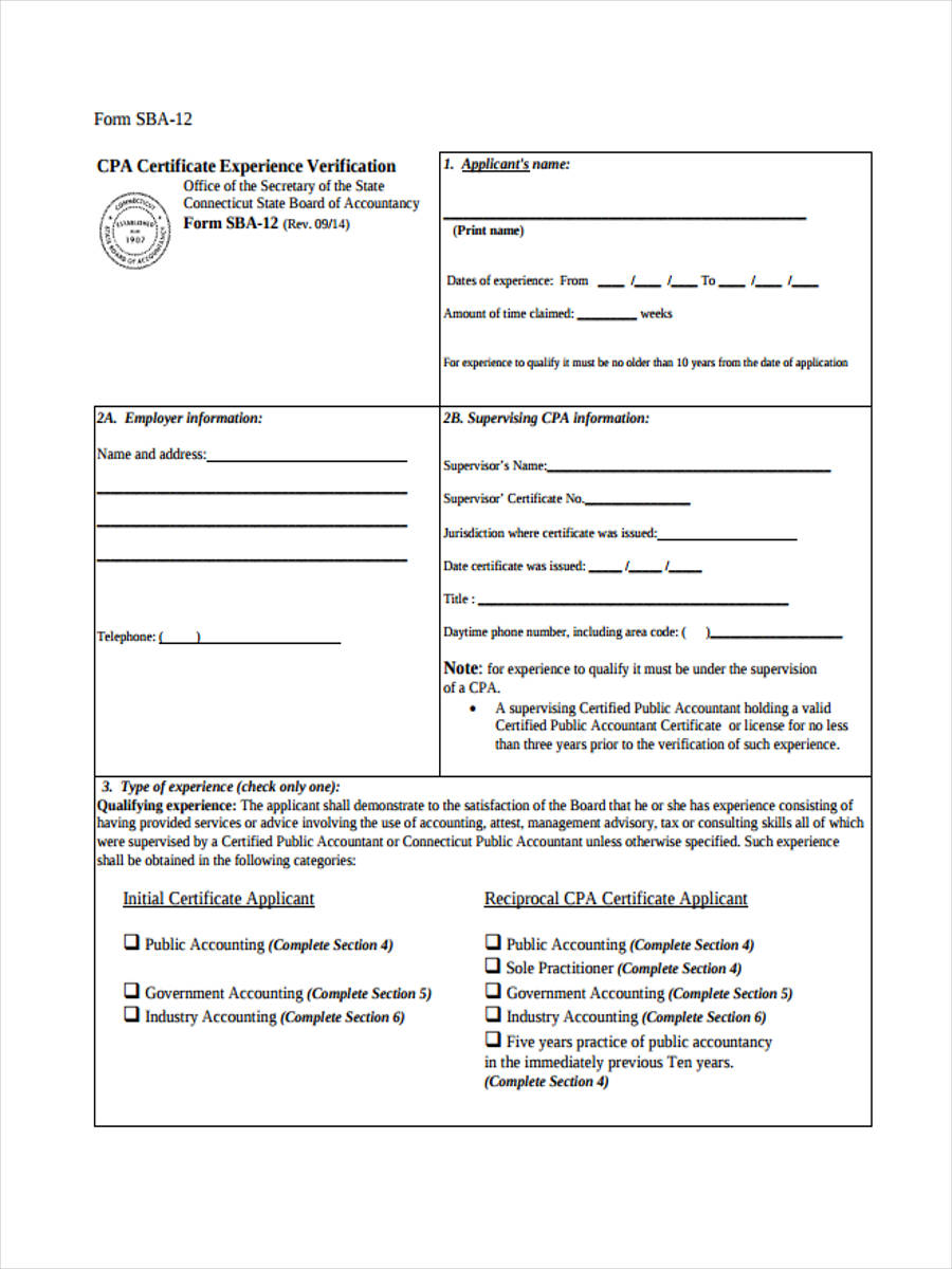 6  verification accounting form samples