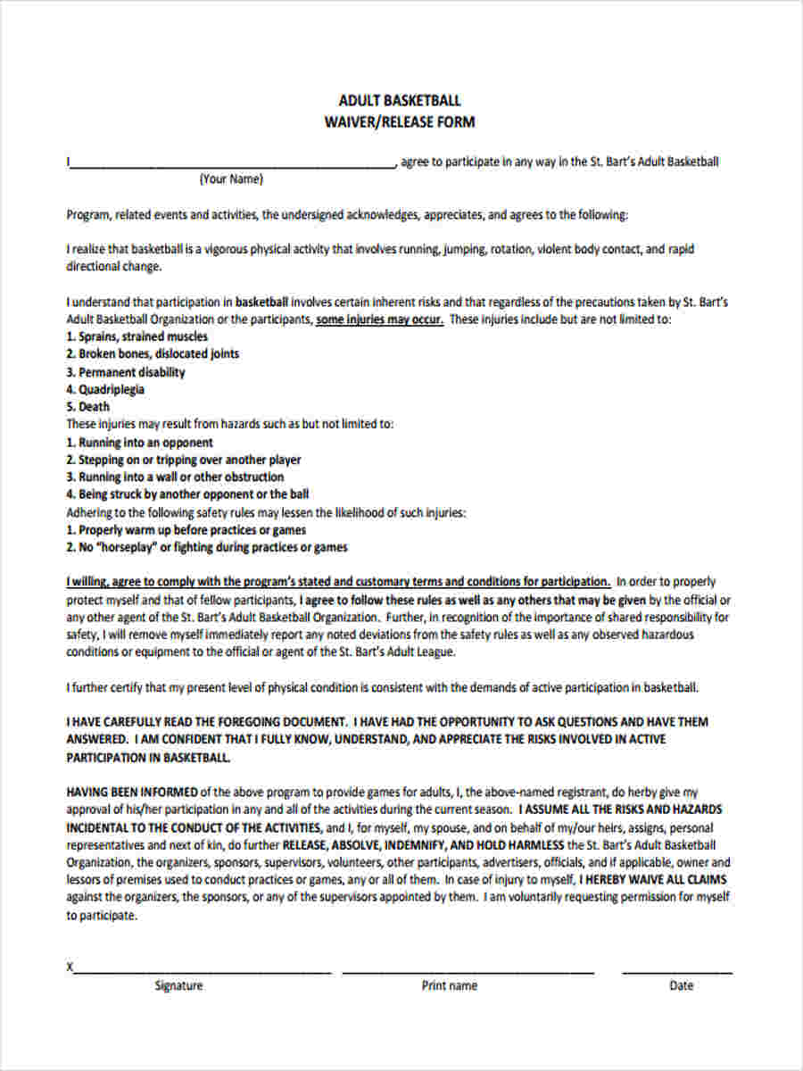 7 Basketball Waiver Forms Samples - Free Sample, Example Format Download