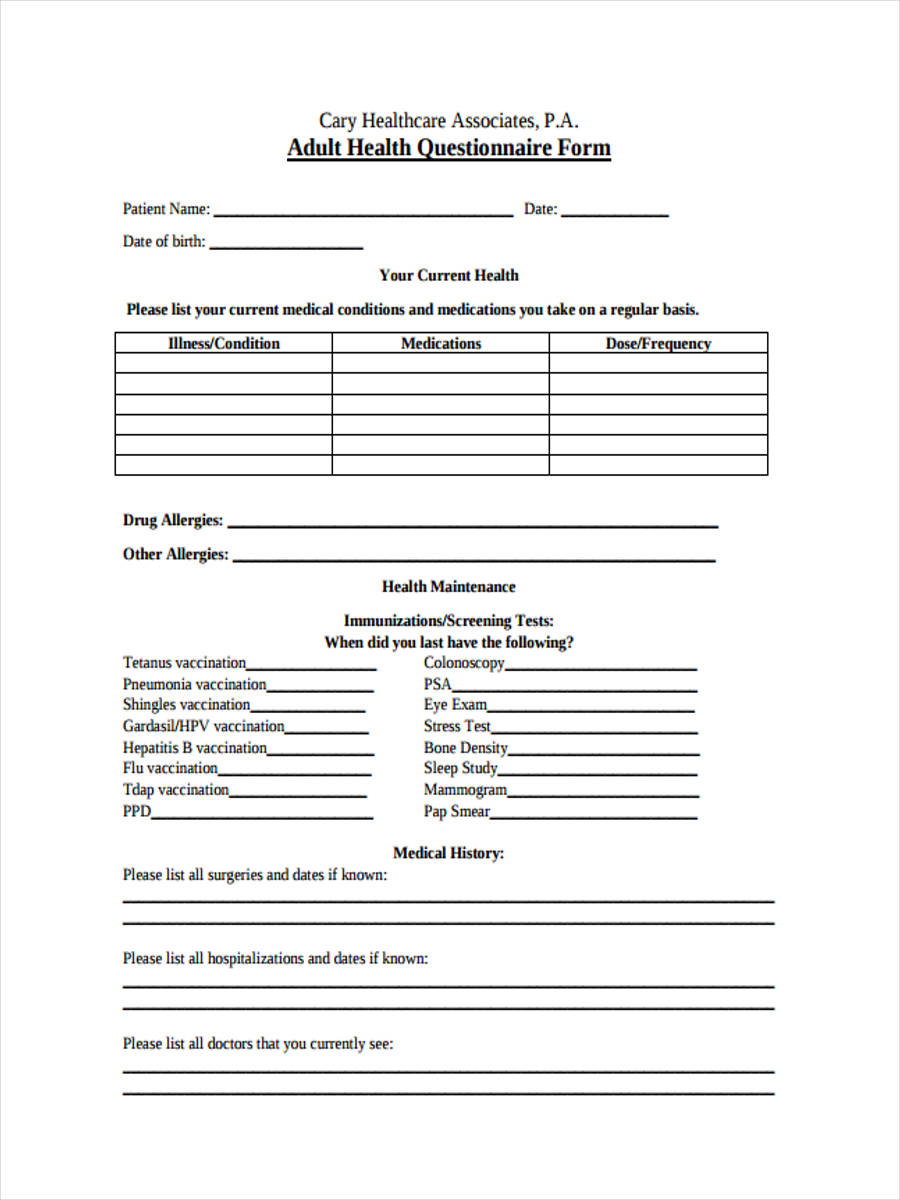 42 free questionnaire forms